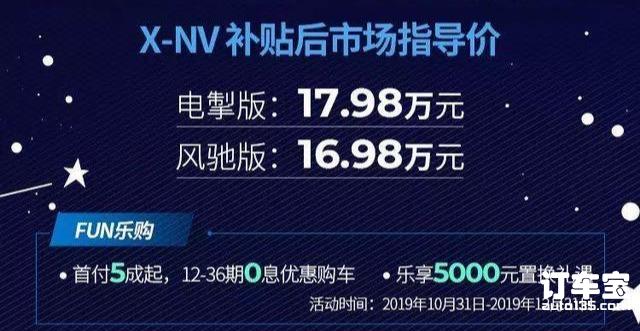 东风本田X-NV上市补贴后16.98万起